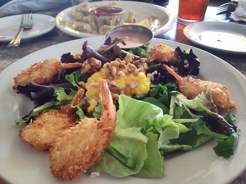 My #CondoSeniors not sharing their coconut shrimp salad with mango, walnut, gorgonzola cheese. FYI @groupersandwich