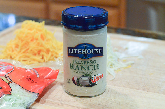 A jar of Litehouse Jalapeno Ranch salad dressing.