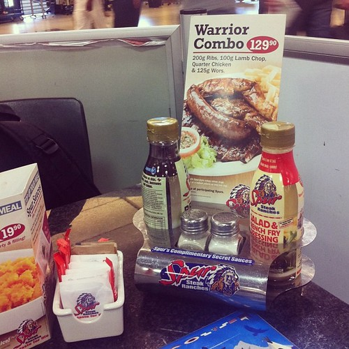 The marketing worked on Jim, my favorite warrior. #spurrestaurant #warrior #lotsofmeat #carnivore #lunch #meatlover #rsa #southafrica #swazilandtripnovember2013