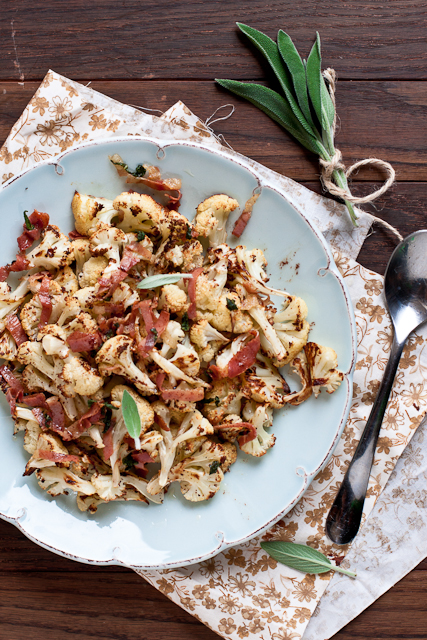 Roasted Cauliflower with Sage Browned Butter and Prosciutto