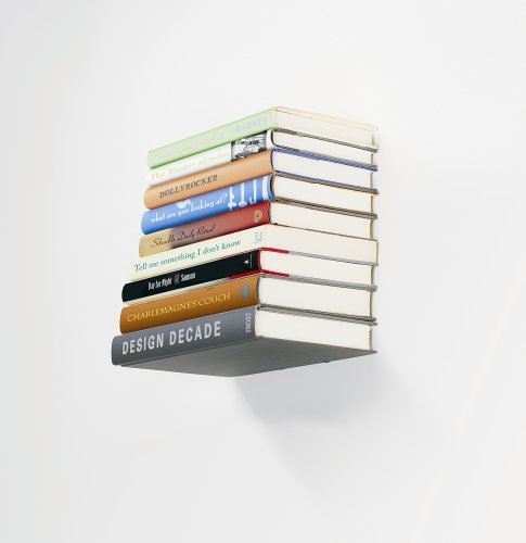 A book shelf that makes it look like the books are floating.