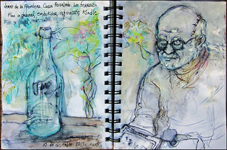 Jerez de la Frontera. Casa Rosaleda. La terraza. Fino al granel, embutidos, aguacate, Kindle.10 de diciembre, 2013.