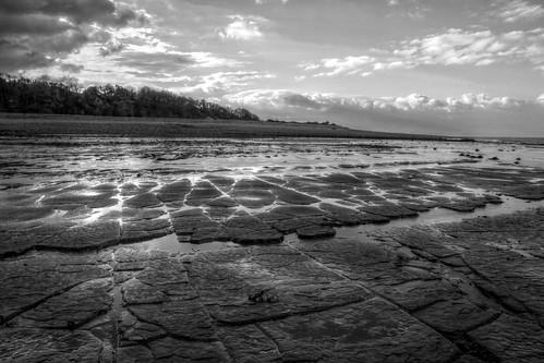 sunset blackandwhite bw cloud beach water monochrome landscape fossil coast blackwhite seaside sand somerset windswept remote geology intertidal seashore hdr isolated taunton bridgwater bristolchannel kilve lilstock bridgwaterbay