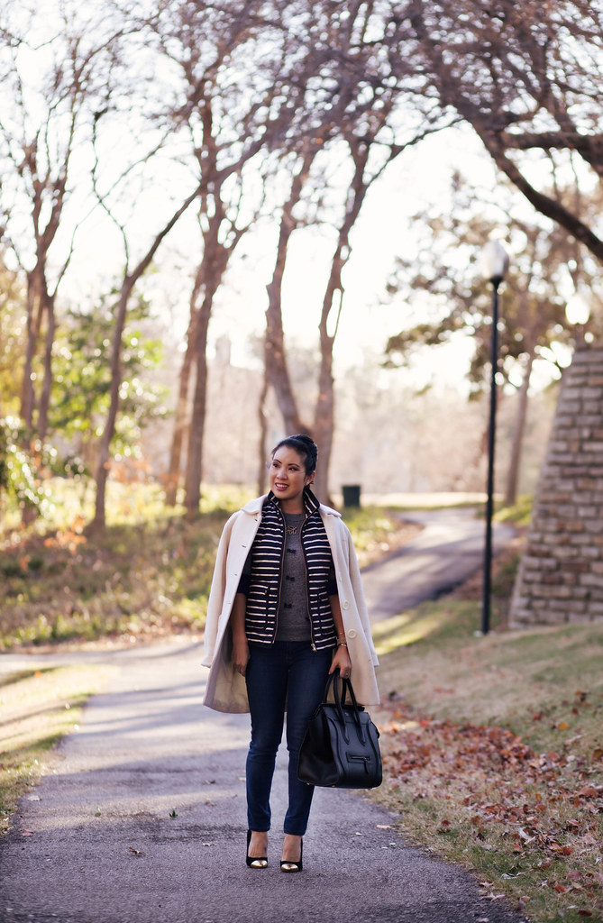 cute & little blog | bows and stripes | j. crew excursion striped vest, j. crew bow sweater, henry & belle skinny jeans, sole society tierra pumps, celine outfit