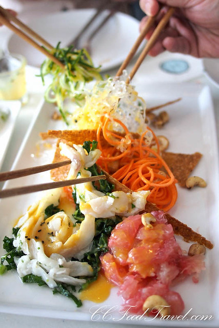 Yee Sang – Wild Robinson Sea Bream fish ceviche served with bundles ...