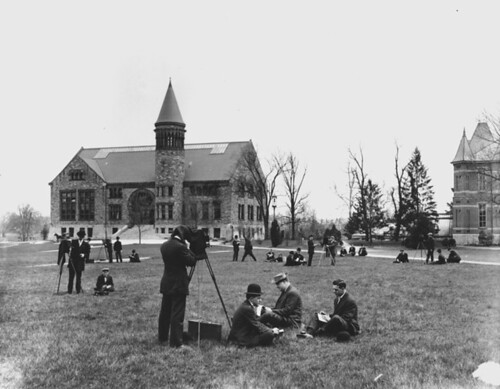 Photography class in front of Orton Hall, 1908