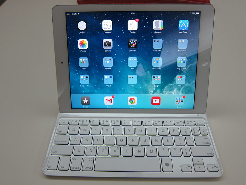 Ultrathin Keyboard Cover - Holding iPad (Front)
