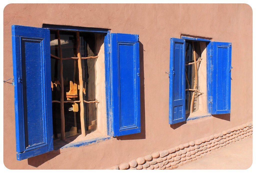 san pedro de atacama house with blue windows
