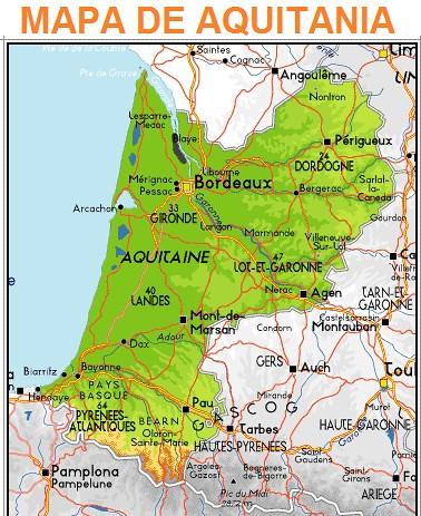 Mapa de Aquitania (Francia)