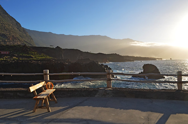 bench for Sunset drink at worlds smallest hotel, El Hierro