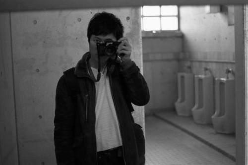 self portrait in toilet