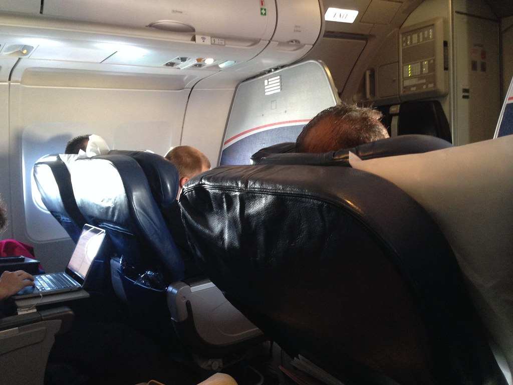 First Class cabin on the US Airways A319