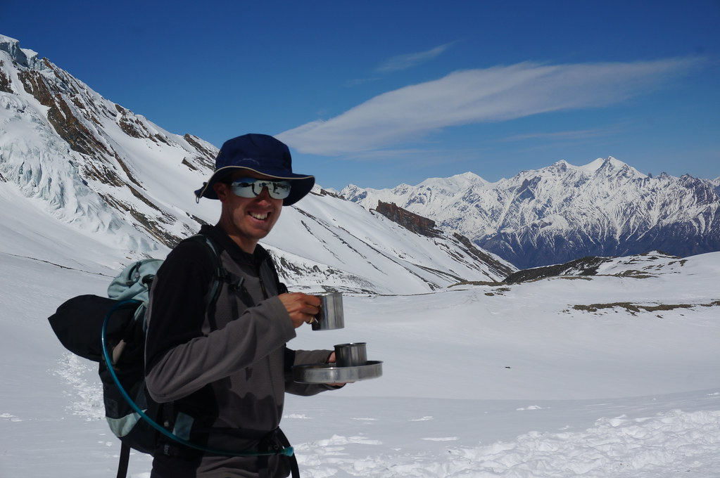 Andrew Drinking Tea on the Thorong La Pass