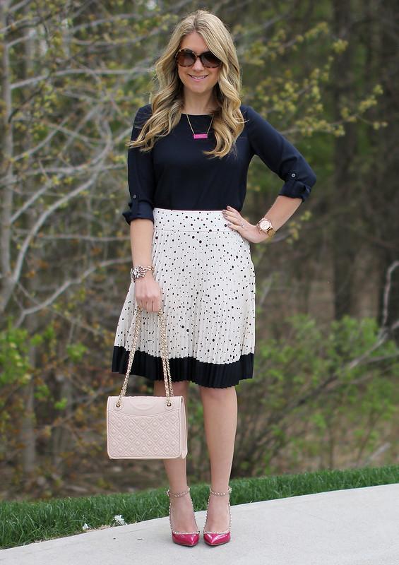 Polka Dot Pleated Skirt navy pleats