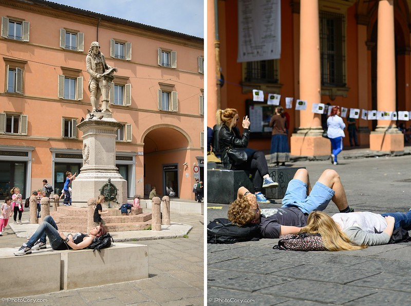 young people in the sun in Bologna