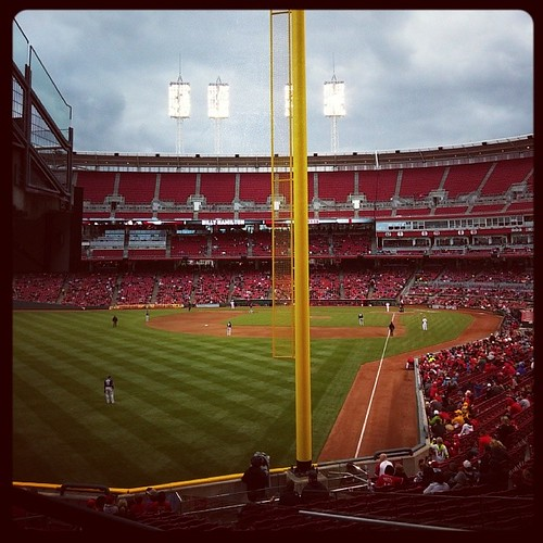 Looking down the third base line at GABP during last night's #Reds game...