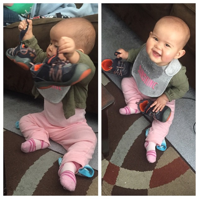 Melanie loves her brother's shoes. Well anyone's shoes really -- but his is just the right size, and can be easily found strewn about the floor. She doesn't really wear her own shoes yet. Though she is working on standing!