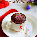Easy Red Velvet Cake in a mug using microwave