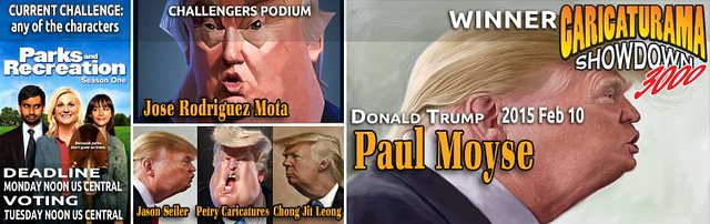 Caricaturama Showdown 3000 - Donald Trump caricature contest banner