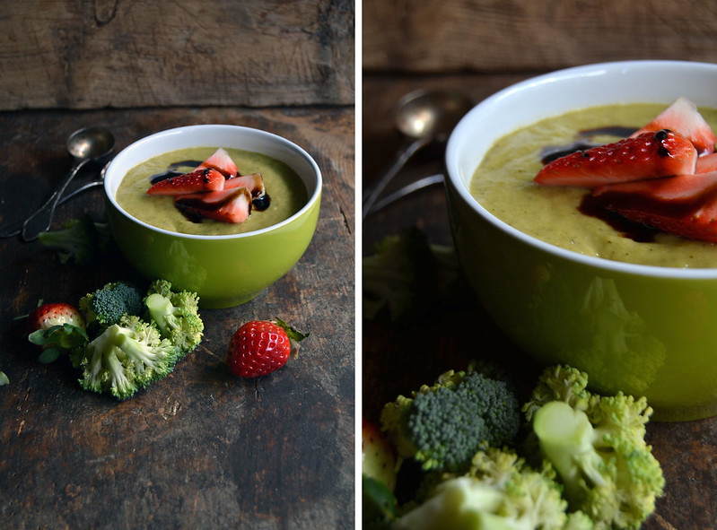 Leek, broccoli and courgette soup with strawberry and balsamic vinegar topping