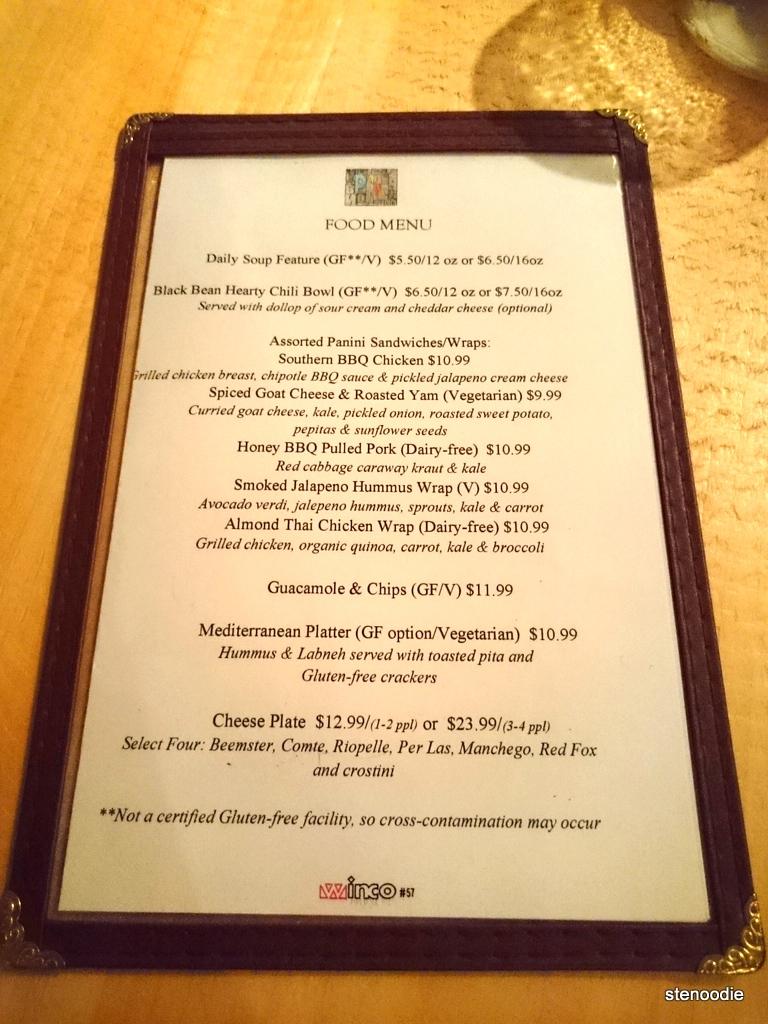 food menu at Page One