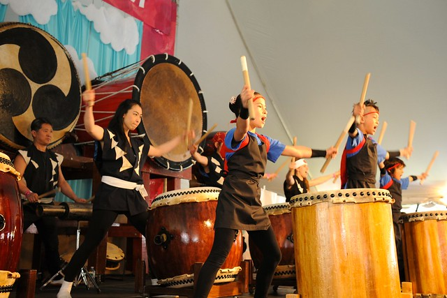Genki Daiko children's taiko ensemble performs on the Cherry Esplanade Stage. Photo by Mike Ratliff.