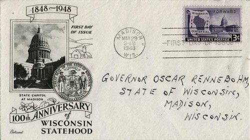 Wisconsin Centennial First Day Cover