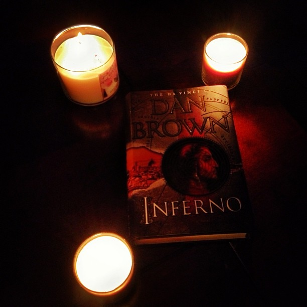 Book by #candlelight #fire #dan #brown #inferno #lovethisbook #gothic #eerie #shadows #darkness #dark #night #nightshot #nightphotography #ig #igers #instapix #dailypix #instadark #mustread #2013 #june #summer