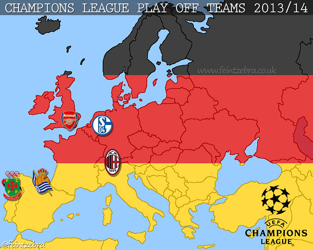 Arsenal Map Of Champions League Play Off Teams