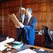 Secretary John Kerry Presents His Brother, Acting Commerce Secretary Cameron Kerry, a Framed Copy of a Joint Cable They Sent by U.S. Department of State