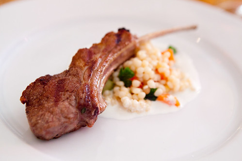 Lamb chops with Israeli couscous, preserved lemon yogurt