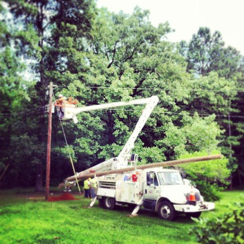 Replacing our pole and 40 year old service wires!