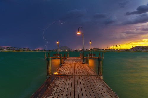 longexposure sunset arizona usa lake storm nature phoenix night landscape pier desert cloudy monsoon bolt lightning americansouthwest