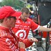 Scott Dixon talks with his team about how his car is handling
