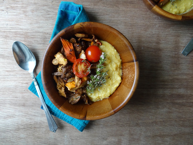 creamy polenta // balsamic wild mushrooms + tomatoes