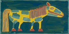 "Bright Yellow Fantasy Horse with Green Spots (24"" x 48"" acrylic on wood)"