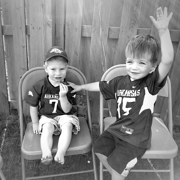 Connor and his buddy Cooper. #latergram #littlerazorbacks #wps