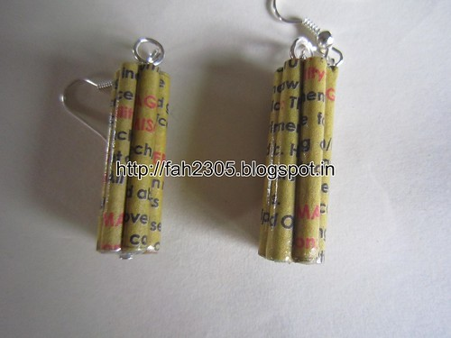 Handmade Jewelry - Rolled Paper Bar Earrings (1) by fah2305