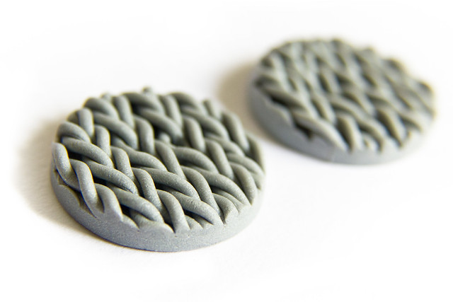 Polymer clay buttons with knitted texture