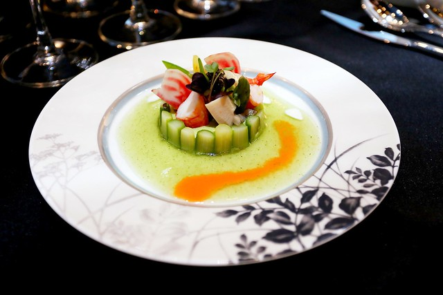 Green Asparagus Mousse Charlotte Style, Assiette de Fruit de Mer and Oscietra Caviar