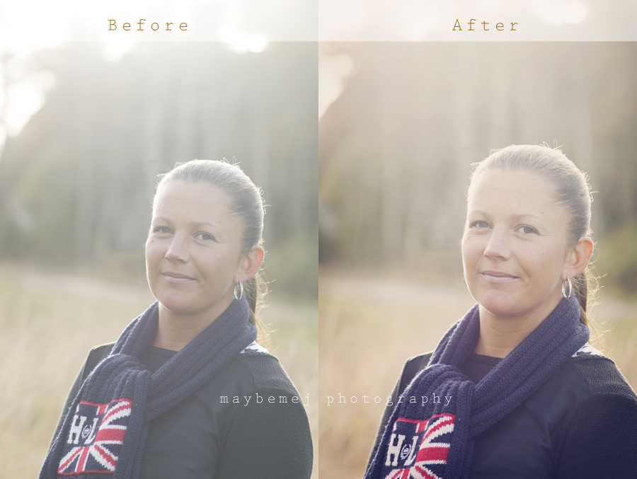 Before and after edited photos
