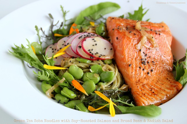 Green Tea Soba Noodles with Soy-Roasted Salmon and Broad Bean & Radish Salad 1