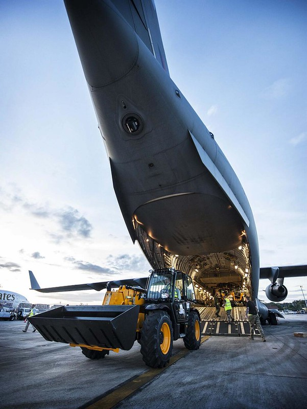 RAF C-17 delivered earlier today first load of emergency specialist equipment to Cebu in Philippines