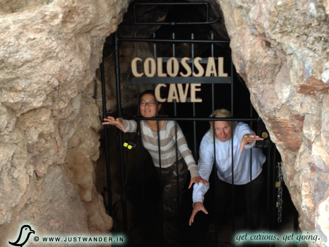 PIC: Photo Op - Bill and Maya of JustWander.in in front of the Colossal Cave entrance.