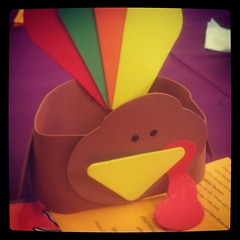 The turkey hat KFP wore for his preschool #Thanksgiving show. Gobble gobble!