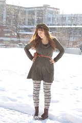 Snow Day Outfit: Anthropologie Alcott dress, fair isle tights, vintage brown leather riding boots, leather belt with pouch, felt Topshop hat, Forever 21 Aztec-print coat