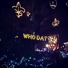 Celebration in the Oaks! #citypark #whodat #saints #holidays #onlyattulane #onlyinneworleans