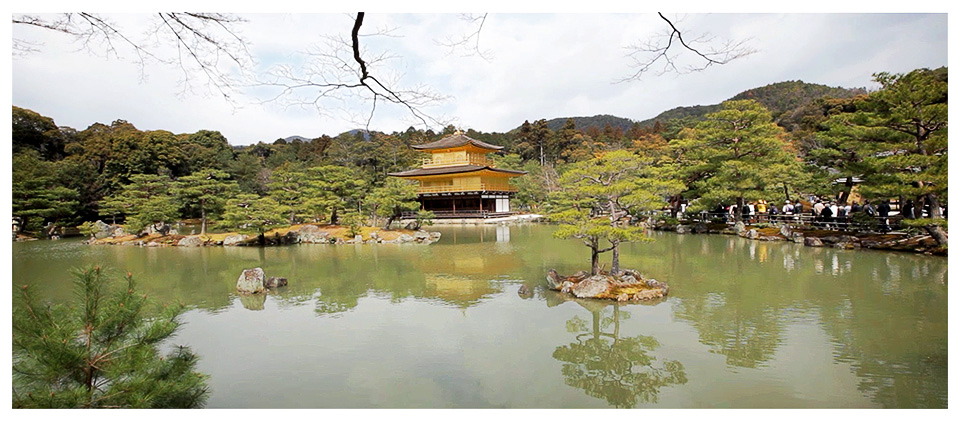 Reflections of Kinkaku-ji Temple, Golden Pavilion, Kyoto - Japan
