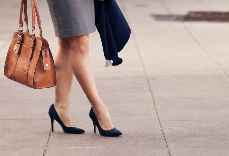 cute & little blog | navy suede pointed toe pumps, gray pencil skirt, navy blazer, emilie m jane satchel outfit