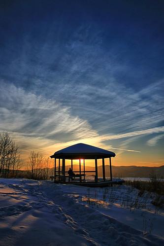 winter sunset lake snow clouds landscape george day adirondacks gazebo knob pilot adks pwwinter {vision}:{mountain}=0677 {vision}:{sunset}=0789 {vision}:{outdoor}=099 {vision}:{clouds}=099 {vision}:{sky}=099 {vision}:{ocean}=063